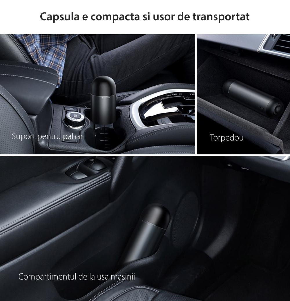 Aspirator auto Baseus Capsule, Wireless, Baterie 2000 mAh, Putere 65 W, Incarcare Type-C