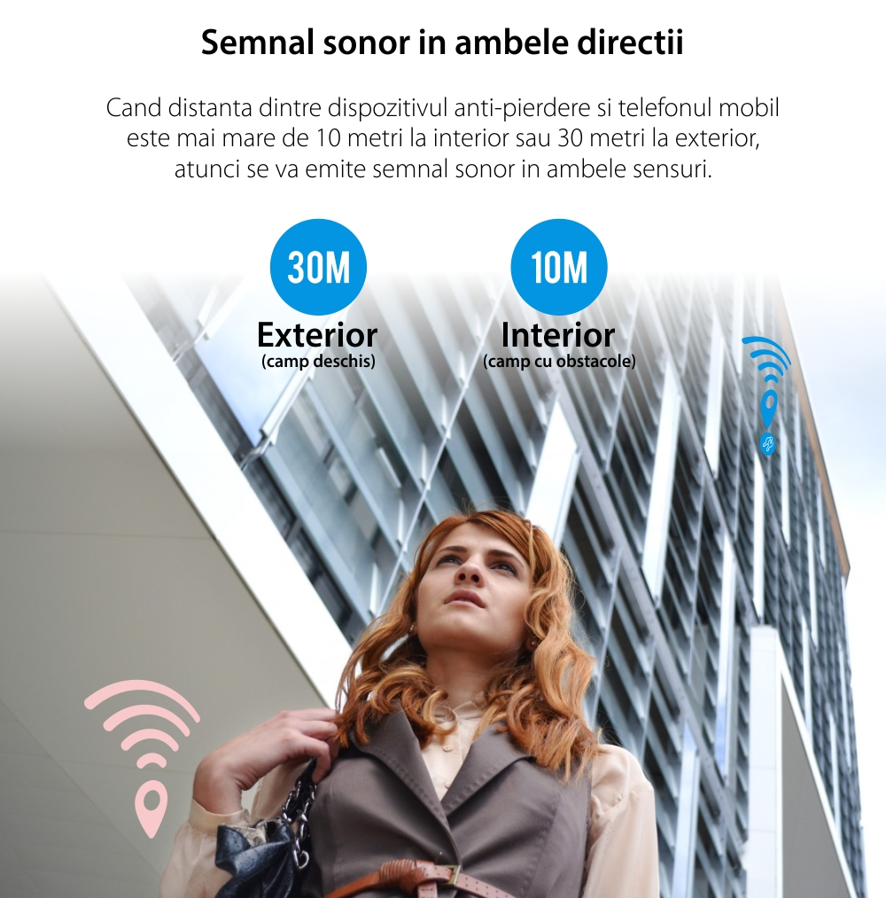 Dispozitiv inteligent anti-pierdere Baseus T1, Roz, Bluetooth, Monitorizare aplicatie, Alarma