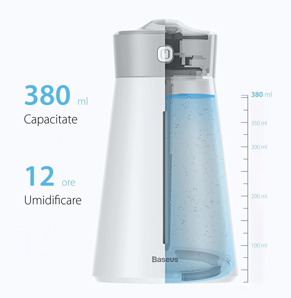 Umidificator cu lampa Baseus DHMY-B04, Roz, Port USB, Capacitate 380 mL, 2 Moduri, Pana la 12 ore