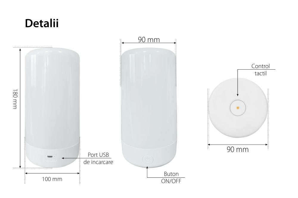 Lampa LED RedSun RS-NL-A1, Multicolor, Touchscreen, Incarcare USB, Control intensitate