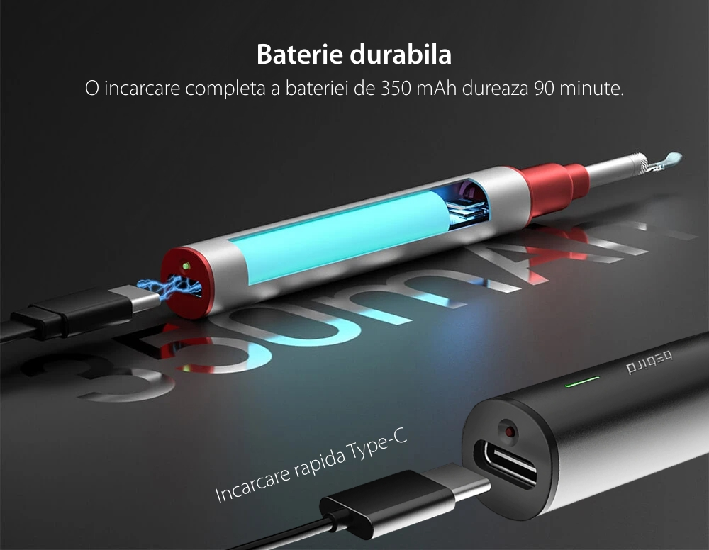 Otoscop cu camera Bebird B2 PRO, 1080p, Lampa UV, Baterie 350 mAh, Incarcare USB-C