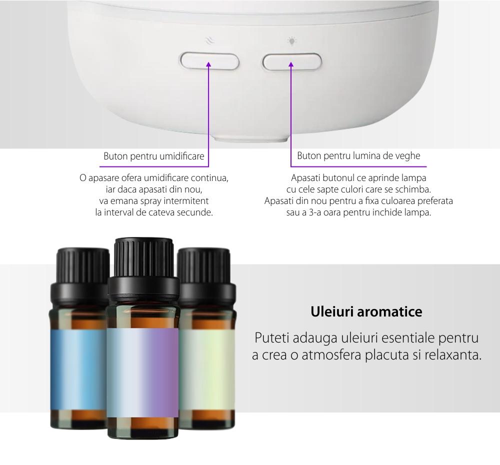 Umidificator si difuzor de arome Baseus ACXUN-02, Uleiuri aromatice, Lumina de veghe, Capacitate 90 mL