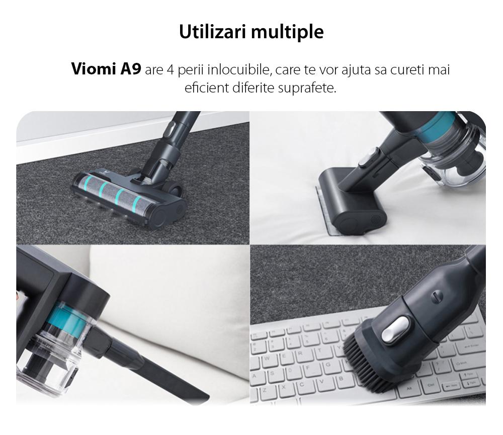 Aspirator vertical Viomi A9, Negru, Wireless, Baterie 2500 mAh, Putere 400 W, Capacitate 400 mL