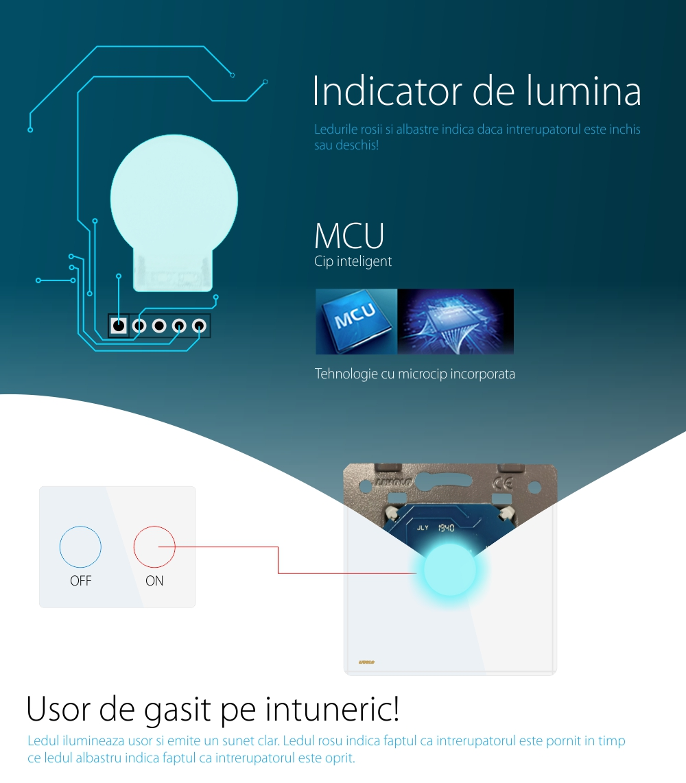 Modul intrerupator cu variator Livolo, Tensiune maxima 250 V