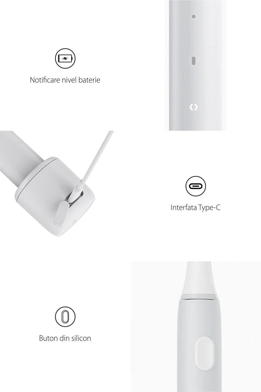 Periuta de dinti electrica Sonic Infly, Baterie 320 mAh, Impermeabila IPX7, Incarcare USB
