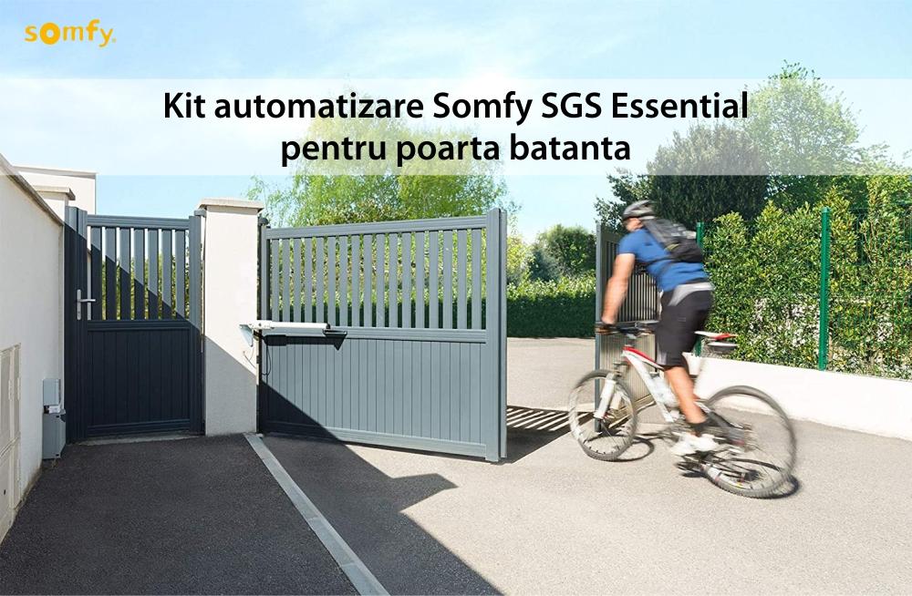 Kit automatizare poarta batanta Somfy SGS Essential, Include lampa de semnalizare, motor, fotocelule si telecomenzi