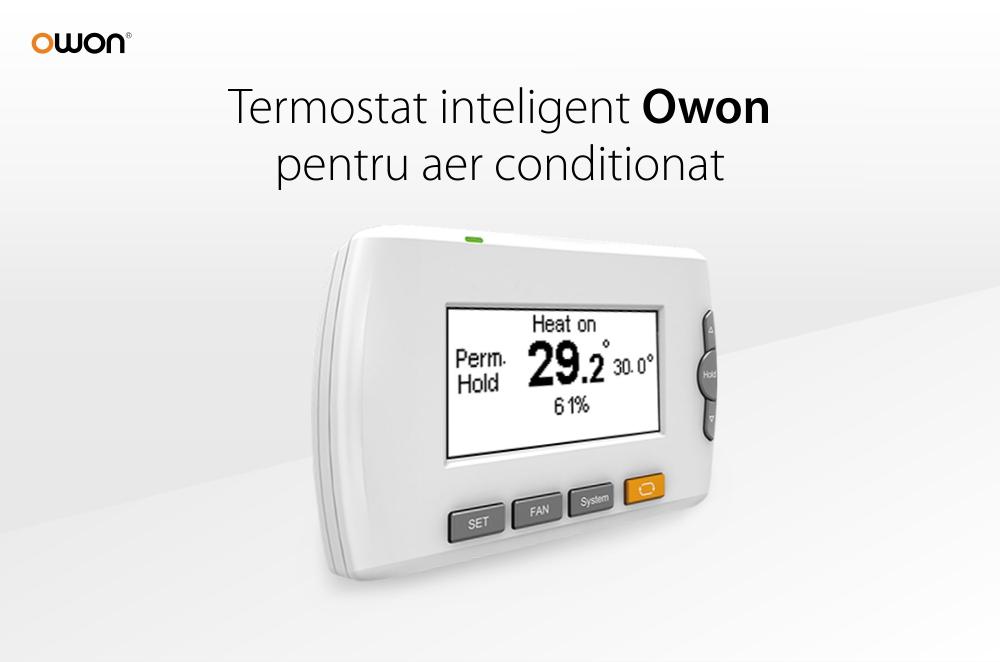 Termostat inteligent Owon pentru centrala termica, LCD 3.0″, Control aplicatie, Baterie 500 mAh