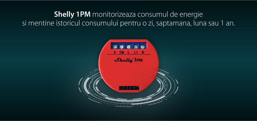 Releu inteligent pentru automatizari Shelly 1PM, Wi-Fi, 16 A, Control aplicatie, Compatibil cu Amazon Alexa & Google