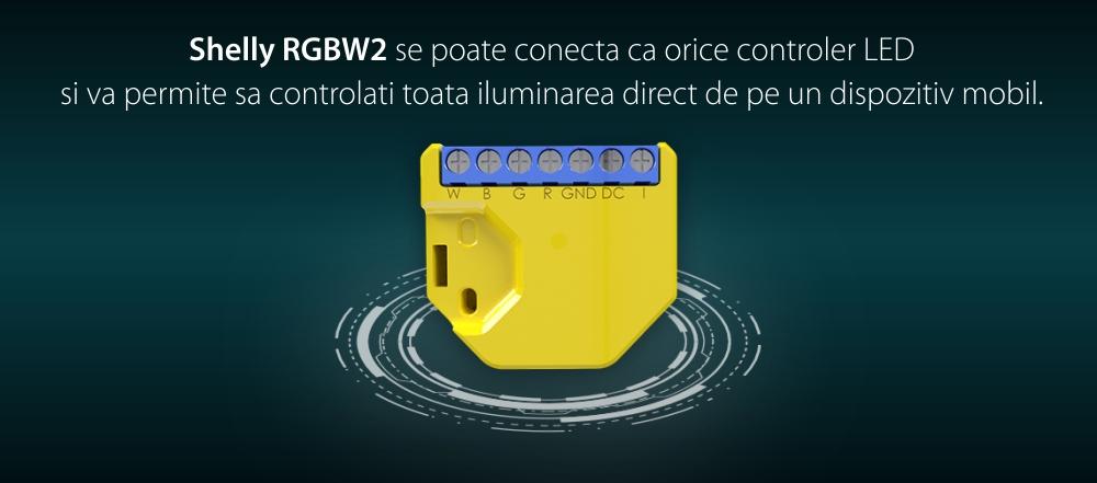Pachet 2 relee inteligente pentru banda LED RGB Shelly RGBW2, Wi-Fi, 4 Canale, Control aplicatie