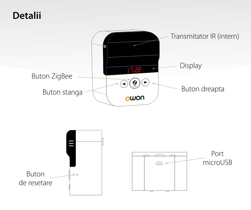Termostat inteligent Owon pentru aer conditionat, Control aplicatie, Afisarea temperaturii, Integrare scenarii