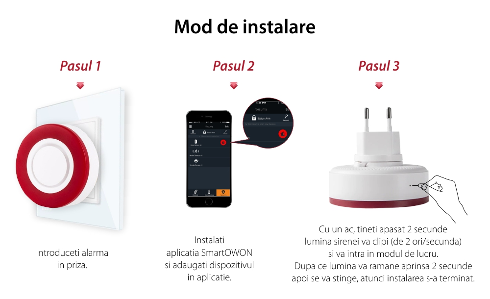 Sirena inteligenta Owon, Control aplicatie, Integrare ZigBee, 95 dB, Baterie rezerva 700 mAh
