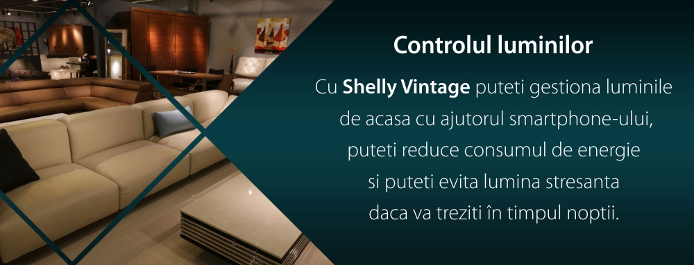 Bec inteligent Shelly Vintage A60, Dimmer, Wi-Fi, Control aplicatie, E27, 7W, 750 LM