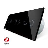 Intrerupator dublu+dublu+dublu cu touch Livolo din sticla, Protocol ZigBee, Control de pe telefon culoare neagra