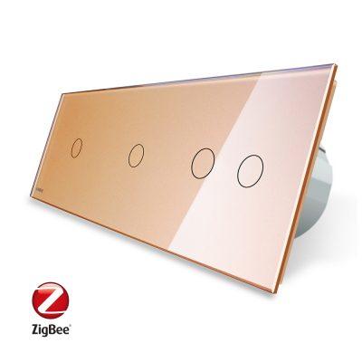 Intrerupator cu touch simplu+simplu+dublu LIVOLO din sticla, Protocol ZigBee, Control de pe telefon culoare aurie