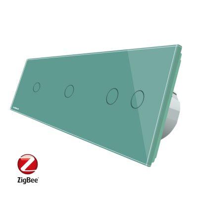 Intrerupator cu touch simplu+simplu+dublu LIVOLO din sticla, Protocol ZigBee, Control de pe telefon culoare verde