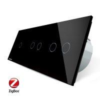 Intrerupator cu touch simplu+dublu+dublu LIVOLO din sticla, Protocol ZigBee, Control de pe telefon culoare neagra
