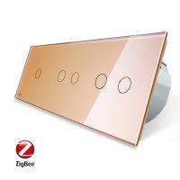 Intrerupator cu touch simplu+dublu+dublu LIVOLO din sticla, Protocol ZigBee, Control de pe telefon culoare aurie