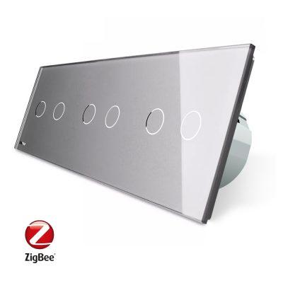 Intrerupator dublu+dublu+dublu cu touch Livolo din sticla, Protocol ZigBee, Control de pe telefon culoare gri