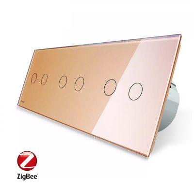 Intrerupator dublu+dublu+dublu cu touch Livolo din sticla, Protocol ZigBee, Control de pe telefon culoare aurie