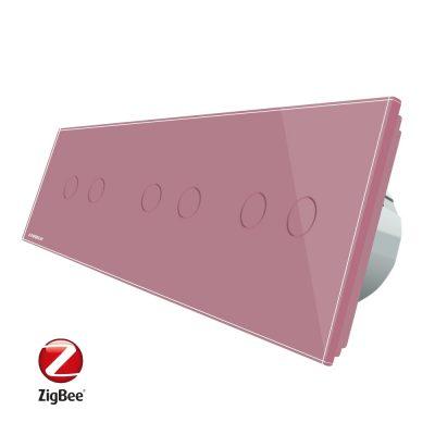 Intrerupator dublu+dublu+dublu cu touch Livolo din sticla, Protocol ZigBee, Control de pe telefon culoare roz