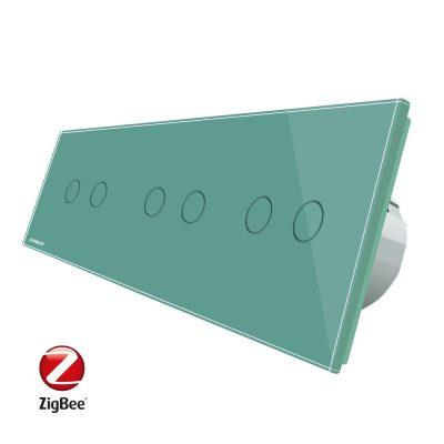 Intrerupator dublu+dublu+dublu cu touch Livolo din sticla, Protocol ZigBee, Control de pe telefon culoare verde