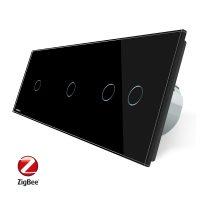 Intrerupator cu touch simplu+simplu+dublu LIVOLO din sticla, Protocol ZigBee, Control de pe telefon culoare neagra