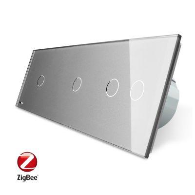 Intrerupator cu touch simplu+simplu+dublu LIVOLO din sticla, Protocol ZigBee, Control de pe telefon culoare gri