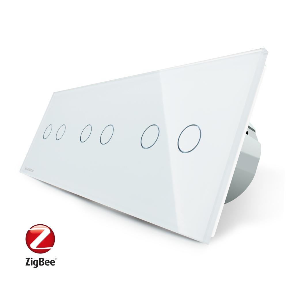 Intrerupator dublu+dublu+dublu cu touch Livolo din sticla, Protocol ZigBee, Control de pe telefon imagine case-smart.ro 2021