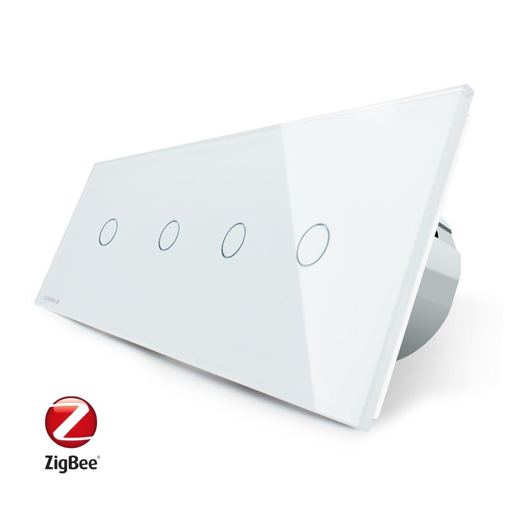 Intrerupator LIVOLO cu touch din sticla cu 4 intrerupatoare simple, Protocol ZigBee, Control de pe telefon imagine case-smart.ro 2021