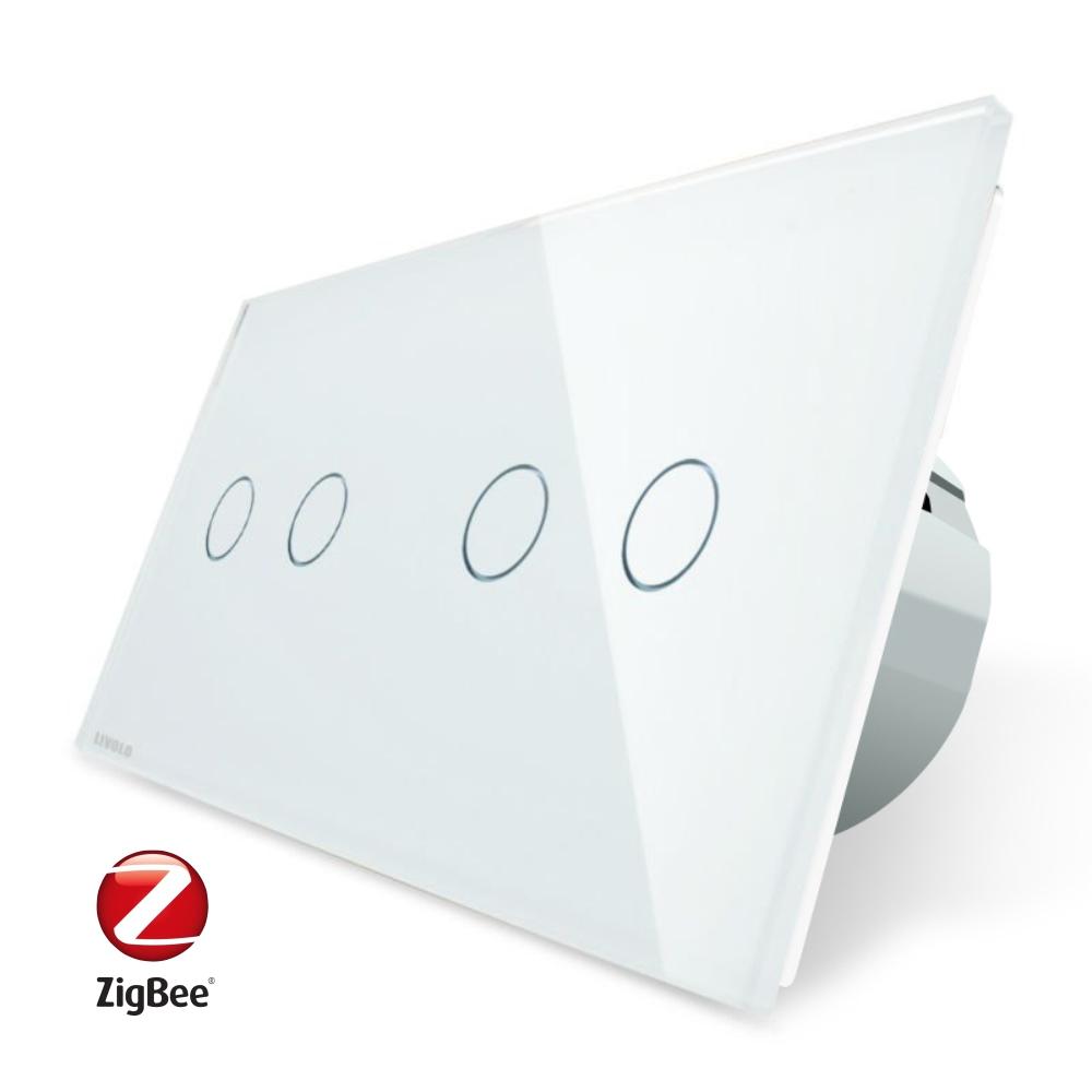 Intrerupator dublu + dublu cu touch Livolo din sticla, Protocol ZigBee, Control de pe telefon imagine case-smart.ro 2021