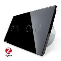 Intrerupator dublu + dublu cu touch Livolo din sticla, Protocol ZigBee, Control de pe telefon culoare neagra