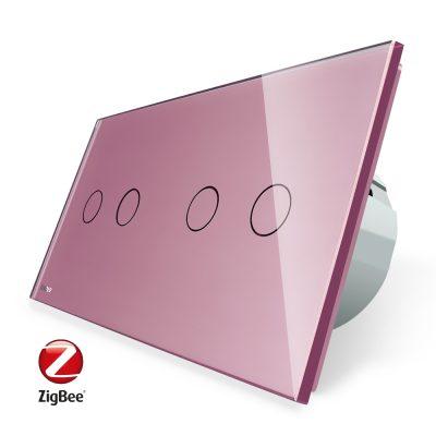 Intrerupator dublu + dublu cu touch Livolo din sticla, Protocol ZigBee, Control de pe telefon culoare roz