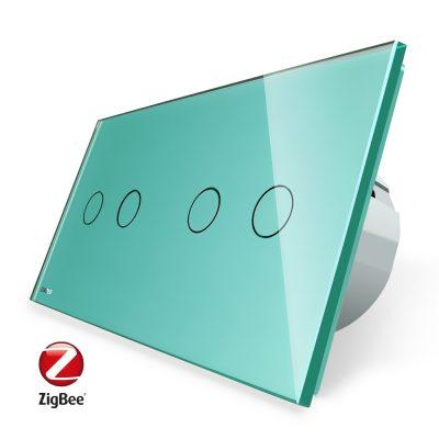 Intrerupator dublu + dublu cu touch Livolo din sticla, Protocol ZigBee, Control de pe telefon culoare verde
