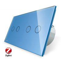 Intrerupator dublu + dublu cu touch Livolo din sticla, Protocol ZigBee, Control de pe telefon culoare albastra