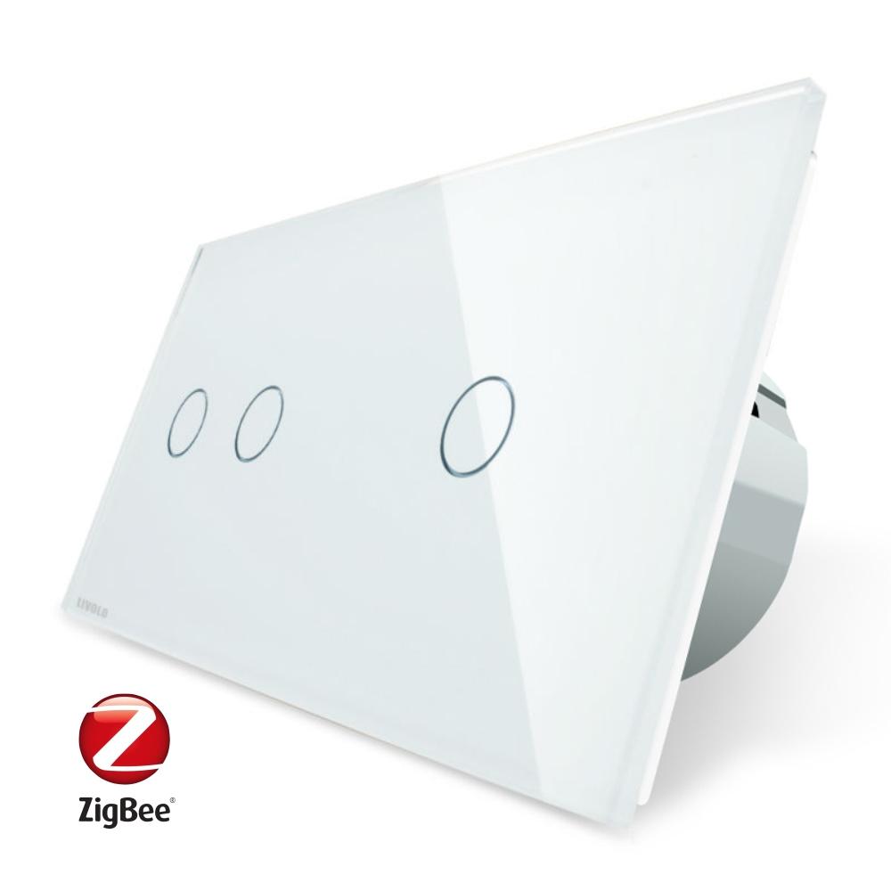 Intrerupator dublu + simplu cu touch Livolo din sticla, Protocol ZigBee, Control de pe telefon imagine case-smart.ro 2021
