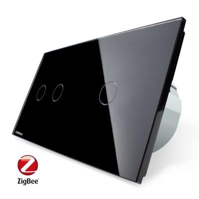 Intrerupator dublu + simplu cu touch Livolo din sticla, Protocol ZigBee, Control de pe telefon culoare neagra