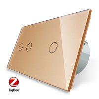 Intrerupator dublu + simplu cu touch Livolo din sticla, Protocol ZigBee, Control de pe telefon culoare aurie