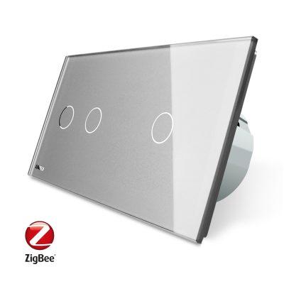 Intrerupator dublu + simplu cu touch Livolo din sticla, Protocol ZigBee, Control de pe telefon culoare gri