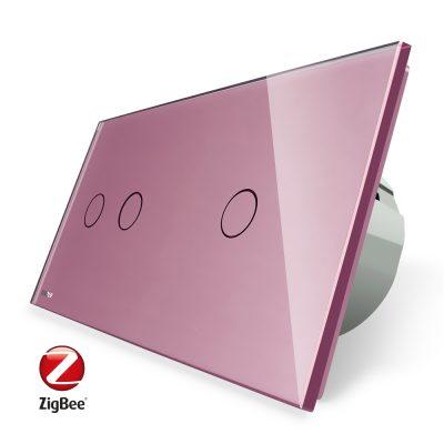 Intrerupator dublu + simplu cu touch Livolo din sticla, Protocol ZigBee, Control de pe telefon culoare roz