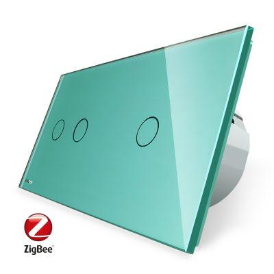 Intrerupator dublu + simplu cu touch Livolo din sticla, Protocol ZigBee, Control de pe telefon culoare verde