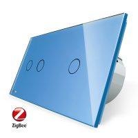 Intrerupator dublu + simplu cu touch Livolo din sticla, Protocol ZigBee, Control de pe telefon culoare albastra