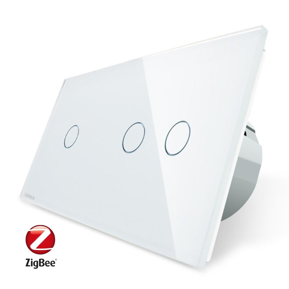Intrerupator simplu + dublu cu touch Livolo din sticla, Protocol ZigBee, Control de pe telefonul mobil imagine case-smart.ro 2021