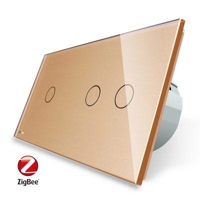 Intrerupator simplu + dublu cu touch Livolo din sticla, Protocol ZigBee, Control de pe telefonul mobil culoare aurie