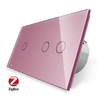 Intrerupator simplu + dublu cu touch Livolo din sticla, Protocol ZigBee, Control de pe telefonul mobil culoare roz