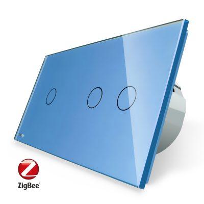 Intrerupator simplu + dublu cu touch Livolo din sticla, Protocol ZigBee, Control de pe telefonul mobil culoare albastra