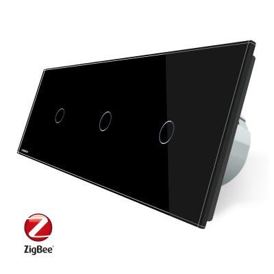 Intrerupator triplu cu touch Livolo din sticla, Protocol ZigBee, Control de pe telefonul mobil culoare neagra