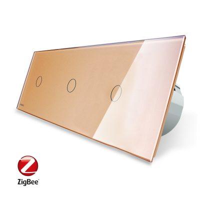 Intrerupator triplu cu touch Livolo din sticla, Protocol ZigBee, Control de pe telefonul mobil culoare aurie