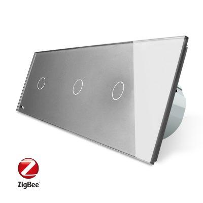 Intrerupator triplu cu touch Livolo din sticla, Protocol ZigBee, Control de pe telefonul mobil culoare gri