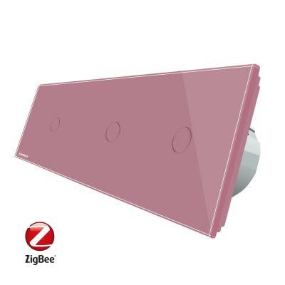 Intrerupator triplu cu touch Livolo din sticla, Protocol ZigBee, Control de pe telefonul mobil culoare roz