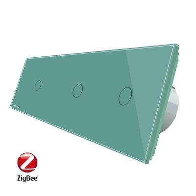 Intrerupator triplu cu touch Livolo din sticla, Protocol ZigBee, Control de pe telefonul mobil culoare verde